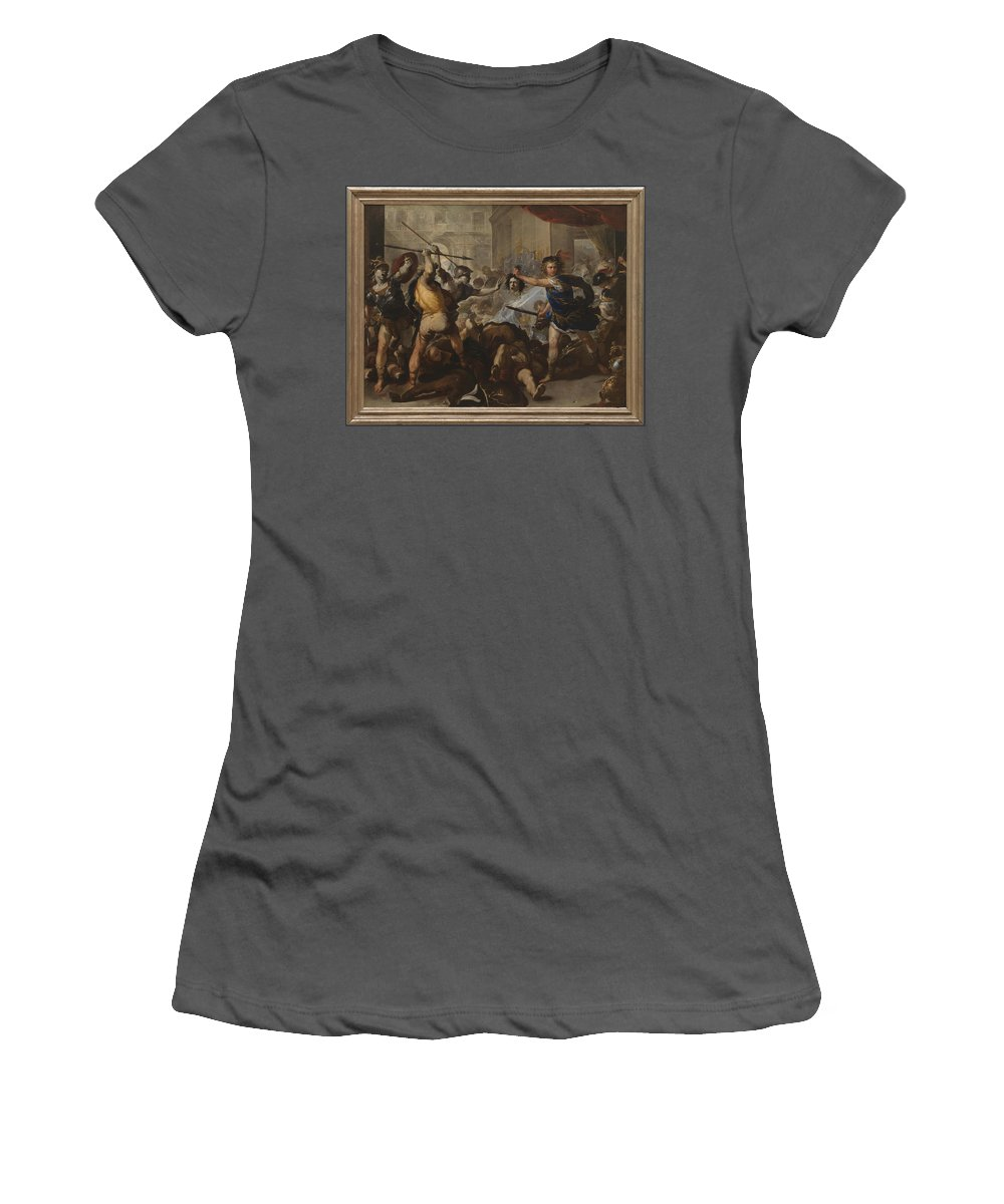 Luca Women's T-Shirt (Athletic Fit) featuring the digital art Perseus Turning Phineas And His Followers To Stone by PixBreak Art