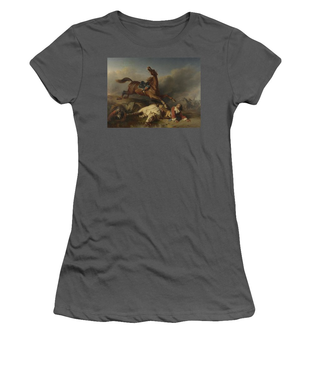 Charles Women's T-Shirt (Athletic Fit) featuring the digital art Philogene Tschaggeny  An Episode On The Field Of Battle by PixBreak Art