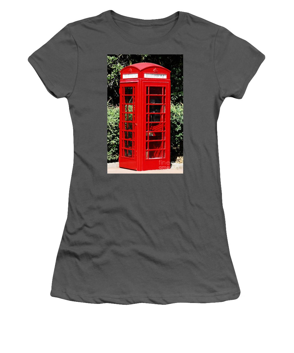 Phone Booth Women's T-Shirt (Athletic Fit) featuring the photograph Phone Booth by David Lee Thompson