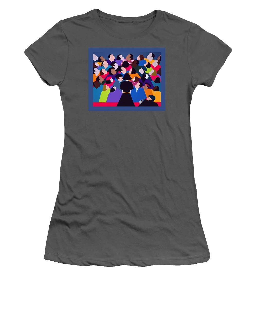 France Women's T-Shirt (Athletic Fit) featuring the painting Piaf Aka A Tribute To Edith Piaf by Synthia SAINT JAMES