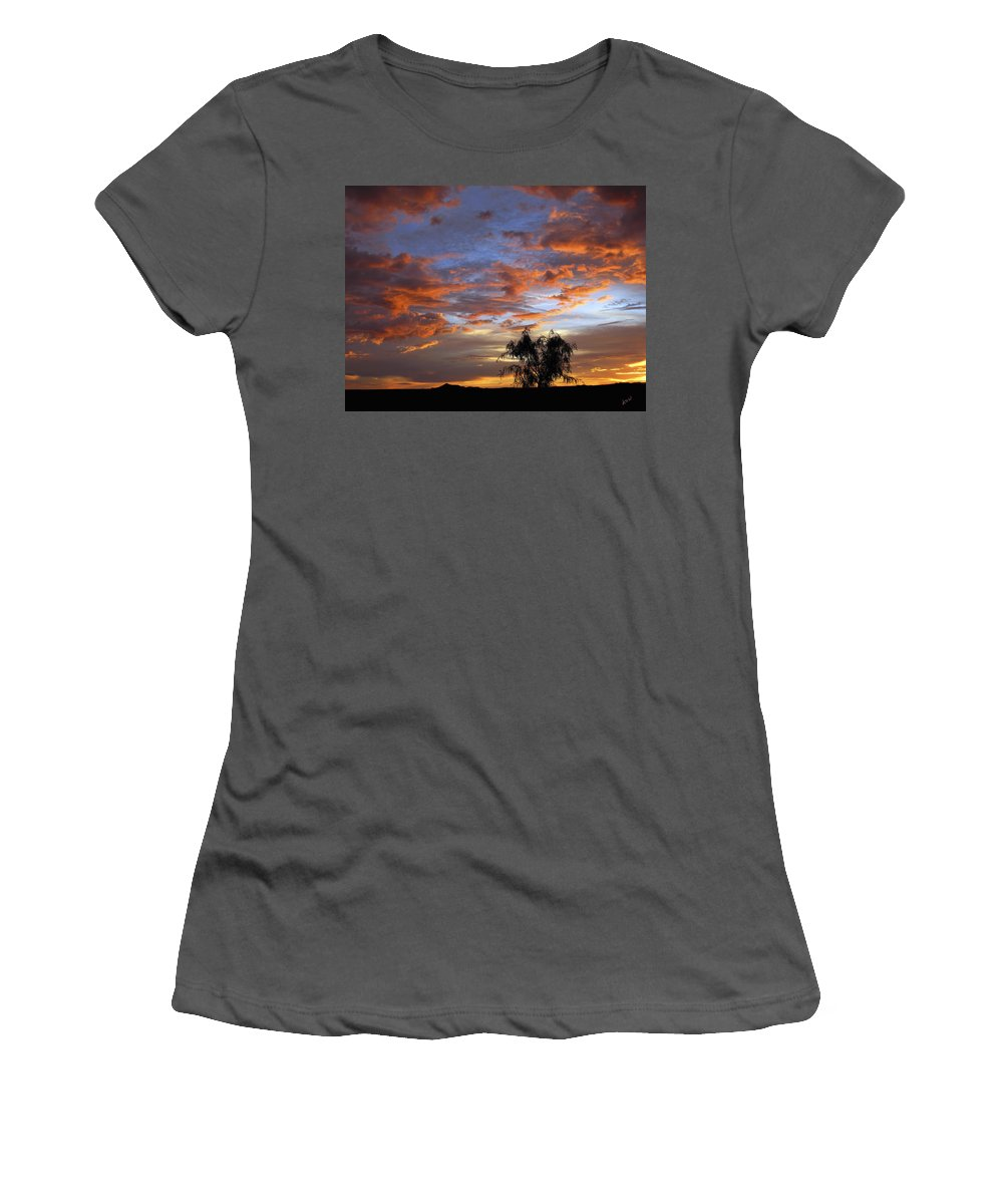 Sunset Women's T-Shirt (Athletic Fit) featuring the photograph Picacho Peak Sunset II by Kurt Van Wagner