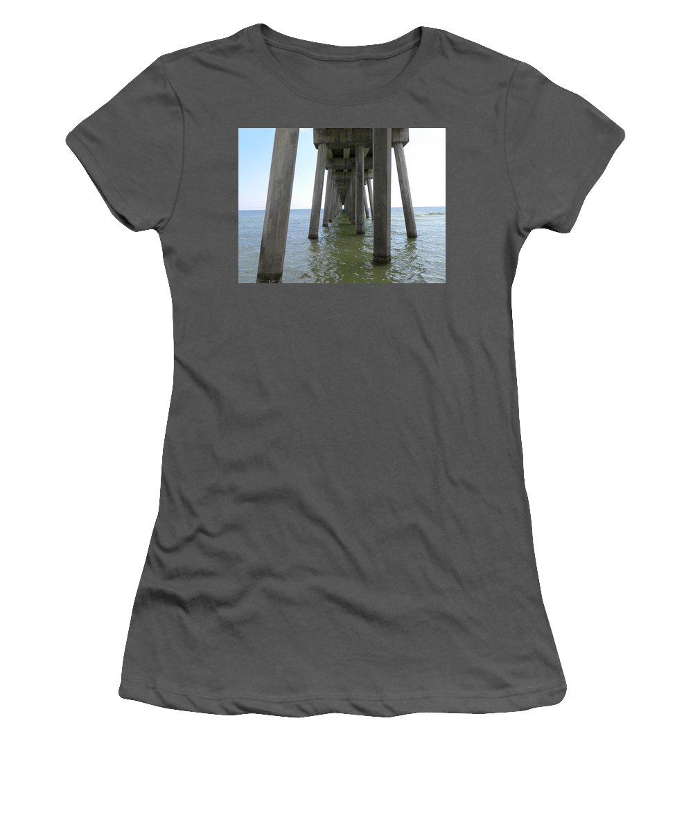 Pier Women's T-Shirt (Athletic Fit) featuring the photograph Underneath The Pier by Shannon Turek