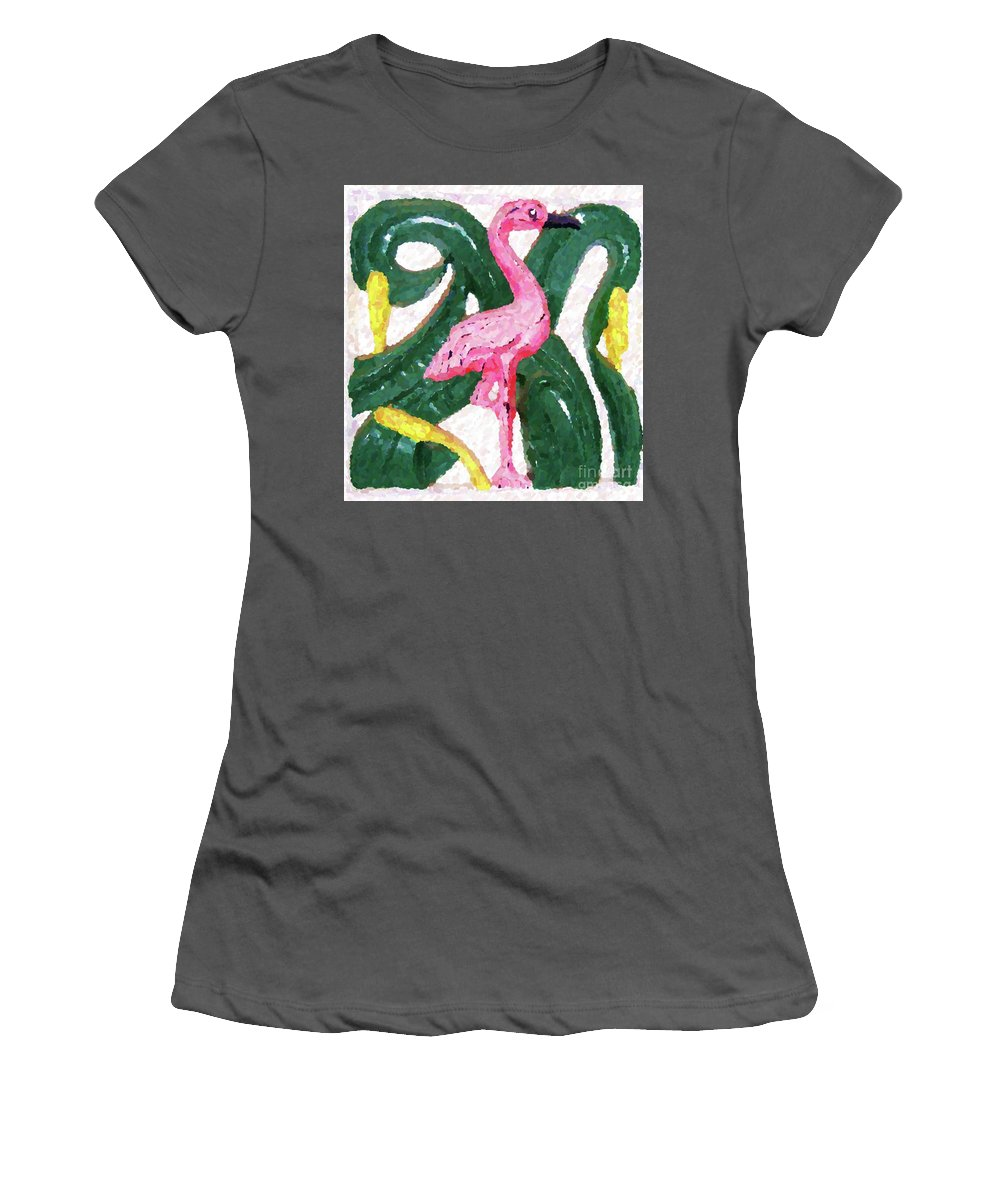 Pink Women's T-Shirt (Athletic Fit) featuring the photograph Pink Flamingo by Debbi Granruth