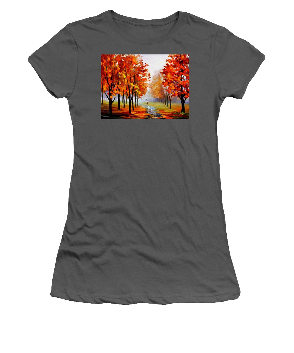 Afremov Women's T-Shirt (Athletic Fit) featuring the painting Pink Fog by Leonid Afremov
