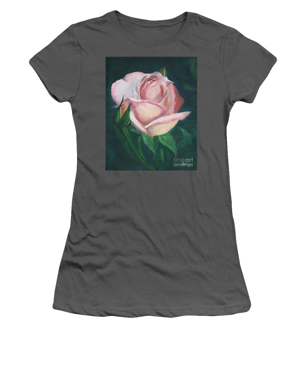 Rose Women's T-Shirt (Athletic Fit) featuring the painting Pink Rose by Mendy Pedersen