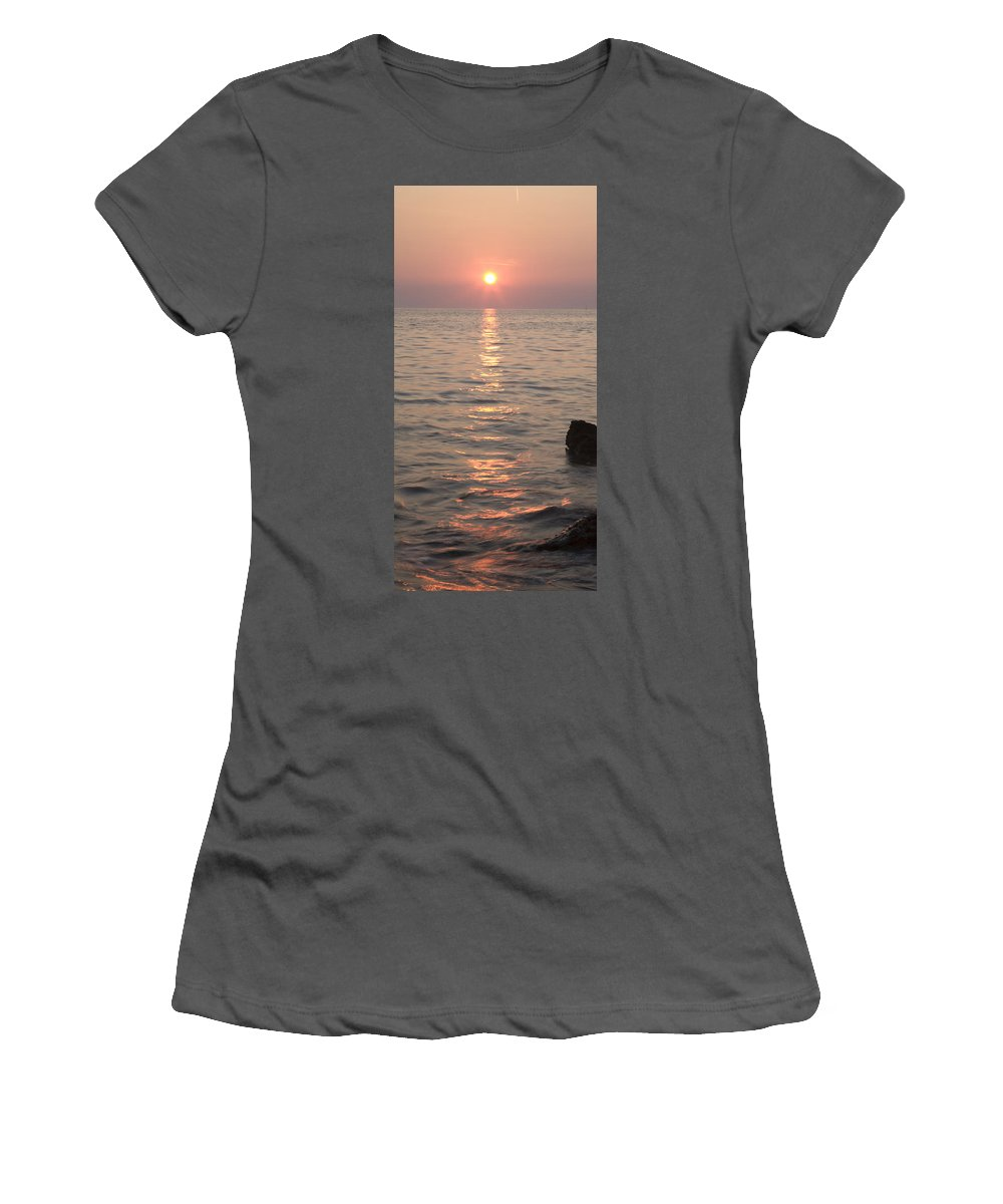 Sea Women's T-Shirt (Athletic Fit) featuring the photograph Pink Sunset Over The Istrian Peninsula by Ian Middleton