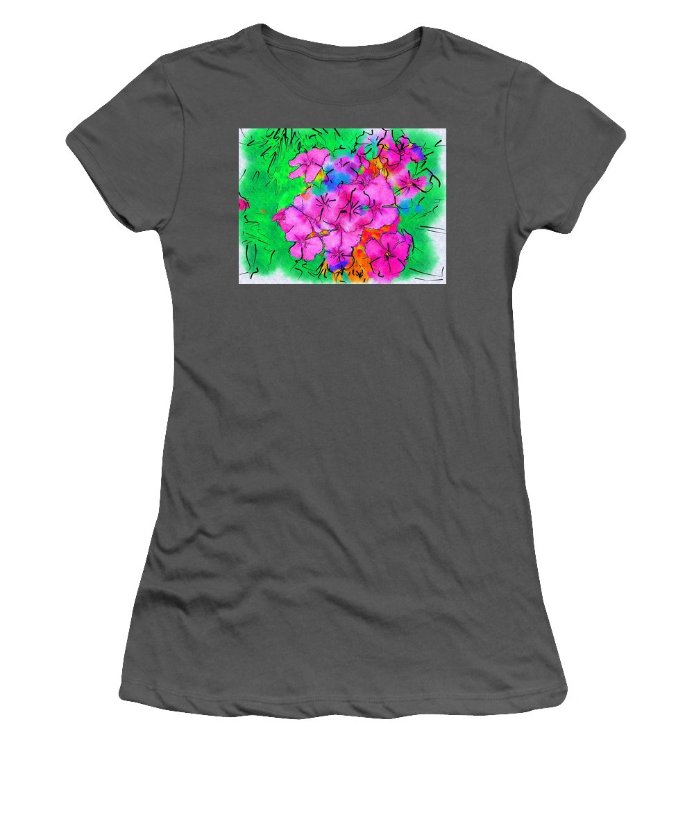 Garden Women's T-Shirt (Athletic Fit) featuring the photograph Pinks Drawing by Donna Bentley