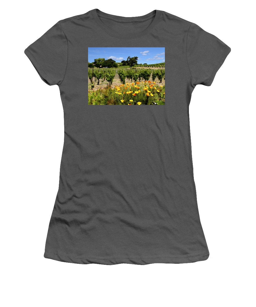 Vineyards Women's T-Shirt (Athletic Fit) featuring the photograph Pinot Noir And Poppies by Kurt Van Wagner