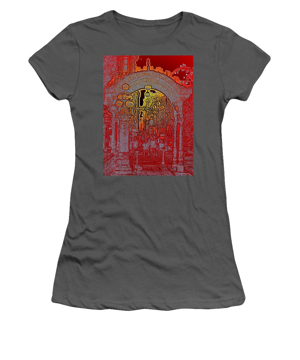 Seattle Women's T-Shirt (Athletic Fit) featuring the photograph Pioneer Square Pergola 2 by Tim Allen