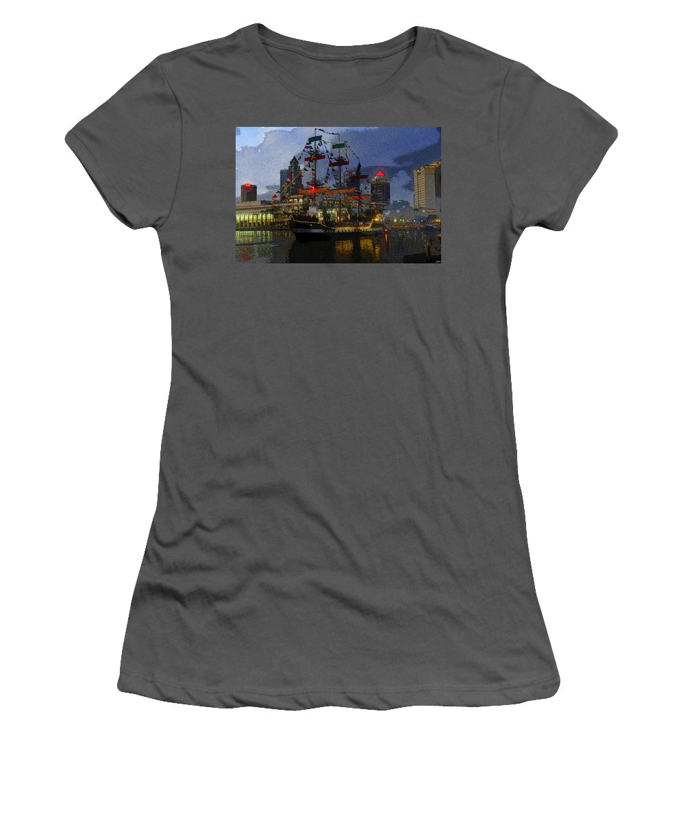 Art Women's T-Shirt (Athletic Fit) featuring the painting Pirates Plunder by David Lee Thompson