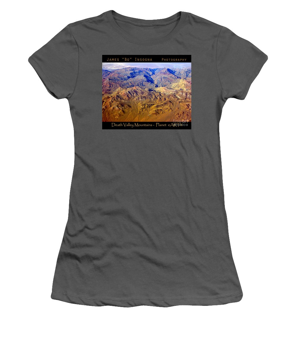 Aerial Women's T-Shirt (Athletic Fit) featuring the photograph Planet Art Death Valley Mountain Aerial by James BO Insogna