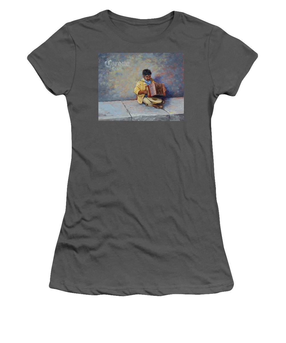 Mexico Women's T-Shirt (Athletic Fit) featuring the painting Playing For Pesos by Jerry McElroy