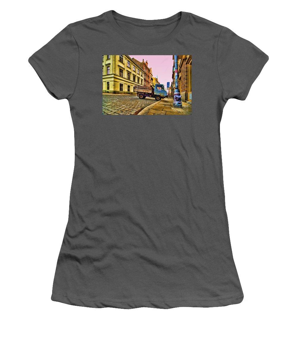 Czech Republic Women's T-Shirt (Athletic Fit) featuring the photograph Plzen In Hdr Czech Republic by Sabine Jacobs