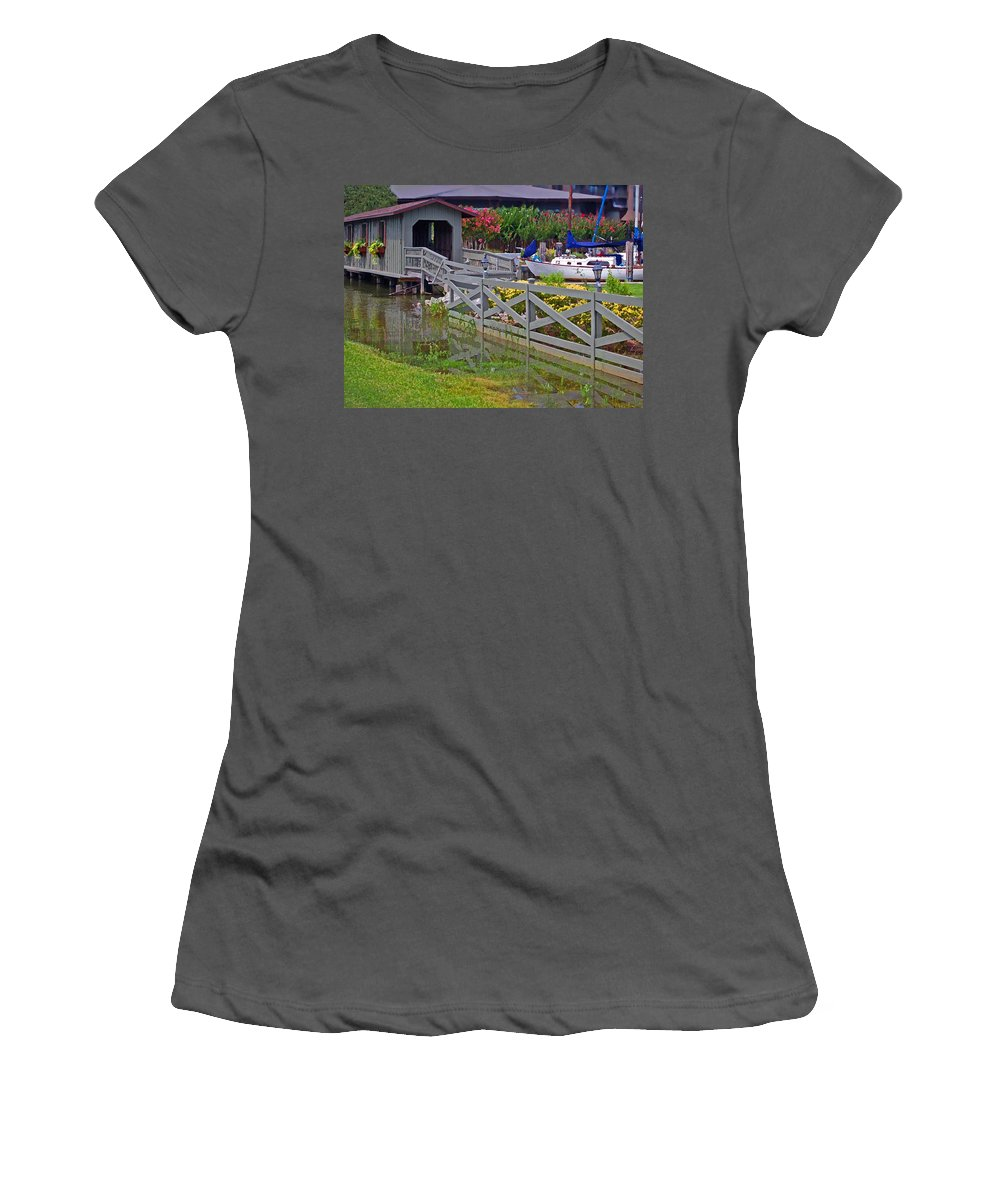 Bridge Women's T-Shirt (Athletic Fit) featuring the painting Point Clear Bridge At Grand Hotel by Michael Thomas