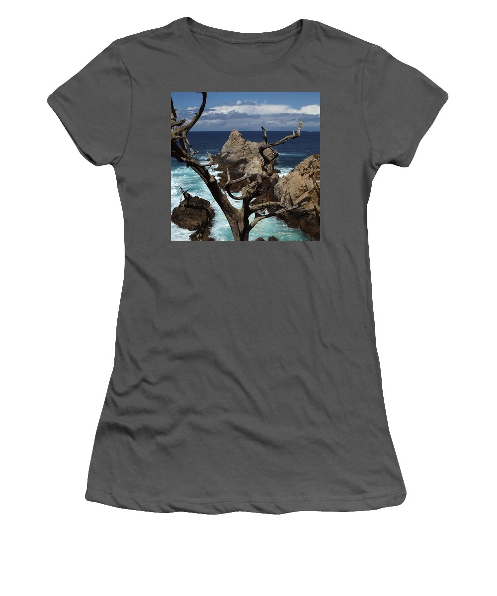 Carmel Women's T-Shirt (Athletic Fit) featuring the photograph Point Lobos Rocks And Branches by Charlene Mitchell