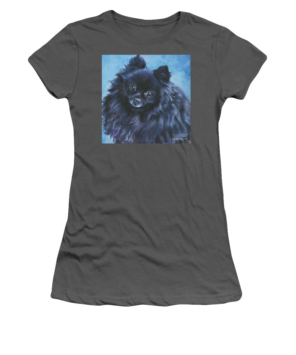 Pomeranian Women's T-Shirt (Athletic Fit) featuring the painting Pomeranian Black by Lee Ann Shepard