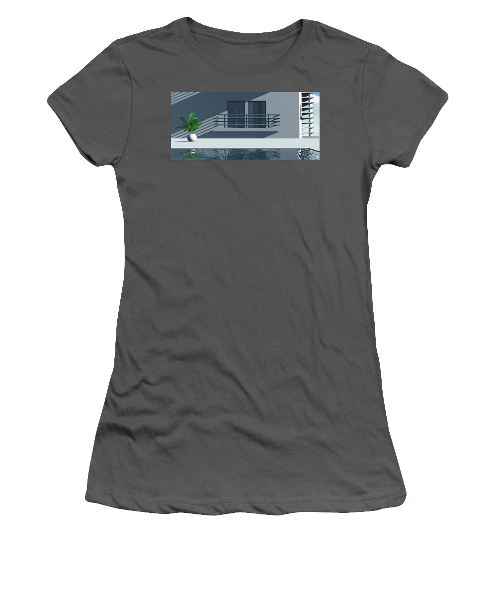Abstract Women's T-Shirt (Athletic Fit) featuring the digital art Pool Side by Richard Rizzo