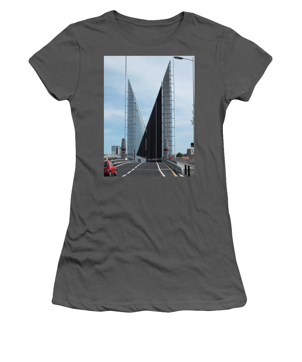 Poole Women's T-Shirt (Athletic Fit) featuring the photograph Poole Sail Bridge by Dave Philp