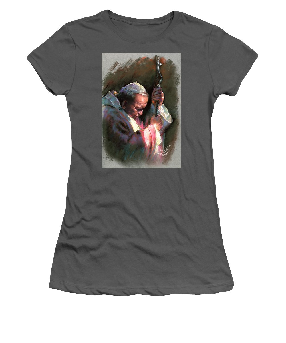 Portrait Women's T-Shirt (Athletic Fit) featuring the pastel Pope John Paul II by Ylli Haruni