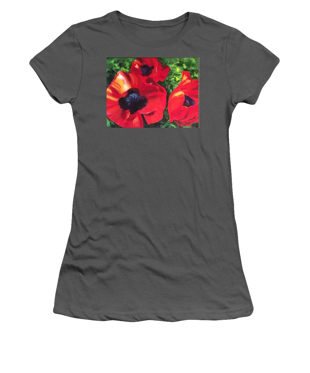 Women's T-Shirt (Athletic Fit) featuring the painting Poppie Love by Rebecca Stafford