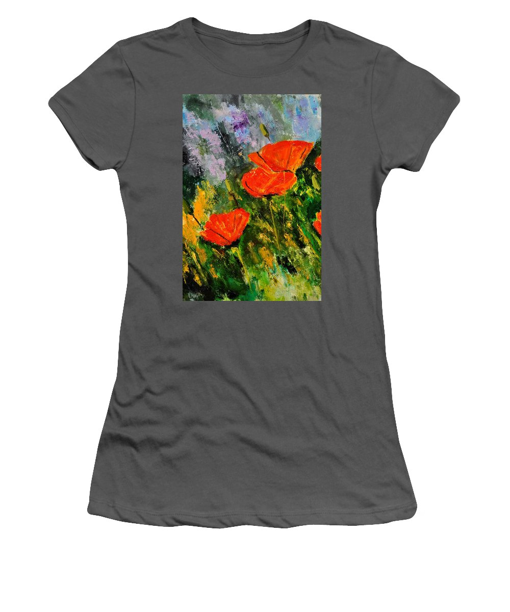 Flowers Women's T-Shirt (Athletic Fit) featuring the painting Poppies 107 by Pol Ledent