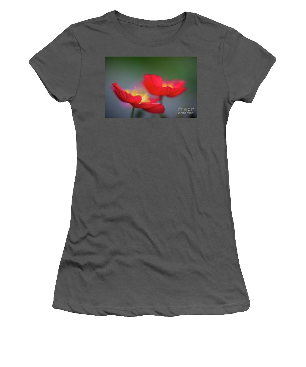 Poppy Women's T-Shirt (Athletic Fit) featuring the photograph Poppies Edges by Mike Reid