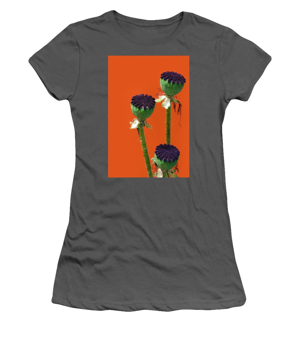 Interior Design Women's T-Shirt (Athletic Fit) featuring the photograph Poppies On Orange by Lisa Knechtel