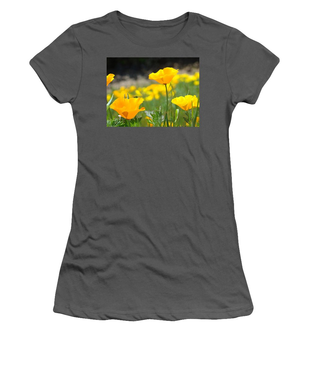 �poppies Artwork� Women's T-Shirt (Athletic Fit) featuring the photograph Poppy Flower Meadow 11 Poppies Art Prints Canvas Framed by Baslee Troutman