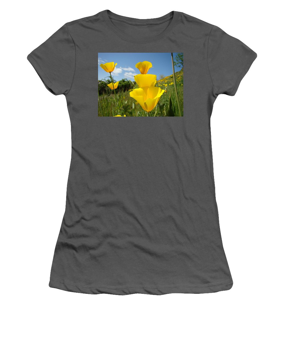 �poppies Artwork� Women's T-Shirt (Athletic Fit) featuring the photograph Poppy Flower Meadow 7 Poppies Blue Sky Artwork Baslee Troutman by Baslee Troutman