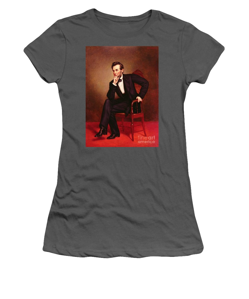 Portrait Of Abraham Lincoln (oil On Canvas) By George Peter Alexander Healy (1808-94) Women's T-Shirt (Athletic Fit) featuring the painting Portrait Of Abraham Lincoln by George Peter Alexander Healy