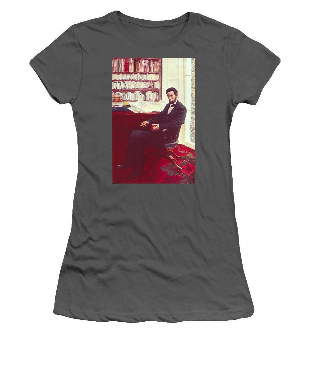Portrait Of Abraham Lincoln (colour Litho) By Howard Pyle (1853-1911) Women's T-Shirt (Athletic Fit) featuring the painting Portrait Of Abraham Lincoln by Howard Pyle
