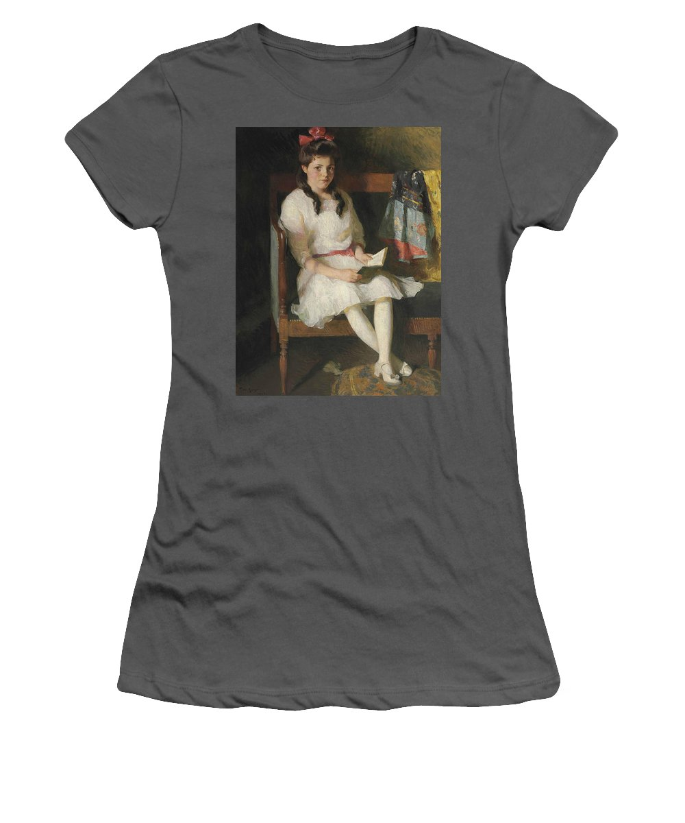American Artist Women's T-Shirt (Athletic Fit) featuring the painting Portrait Of Gertrude Russell by Frank Weston Benson