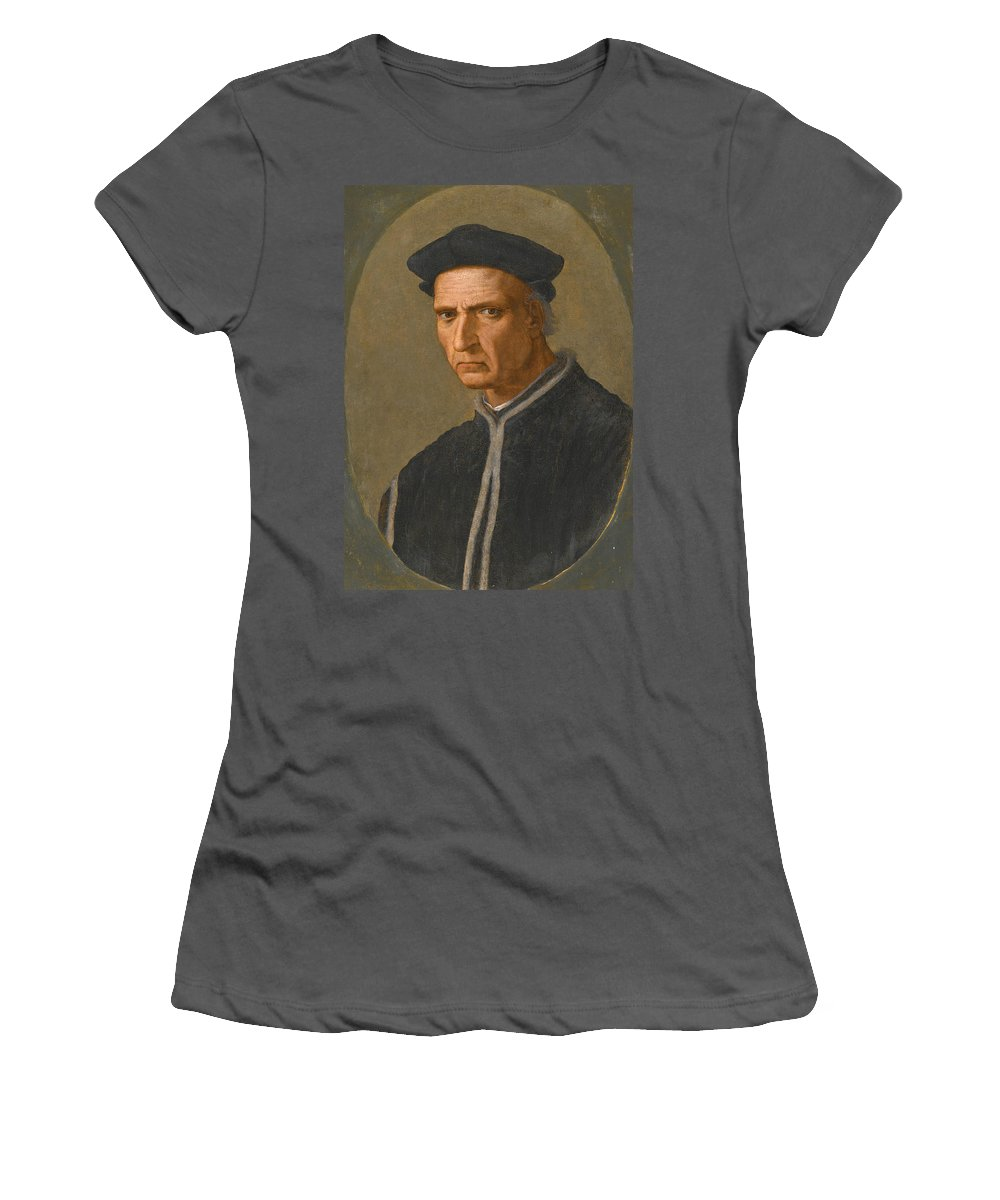 Ridolfo Ghirlandaio Women's T-Shirt (Athletic Fit) featuring the painting Portrait Of Piero Soderini Half Length Wearing A Black Coat And A Black Hat by Ridolfo Ghirlandaio