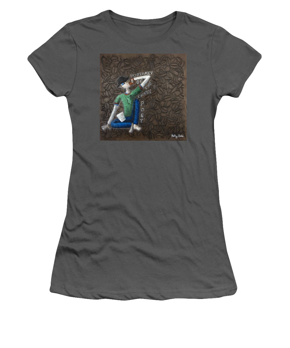 Portrait Women's T-Shirt (Athletic Fit) featuring the painting Portrait Of The Crazy Poet by Kelly Jade King
