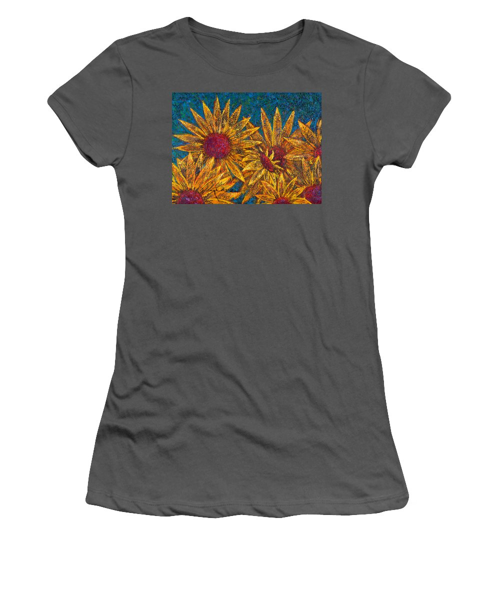 Flowers Women's T-Shirt (Athletic Fit) featuring the painting Positivity by Oscar Ortiz
