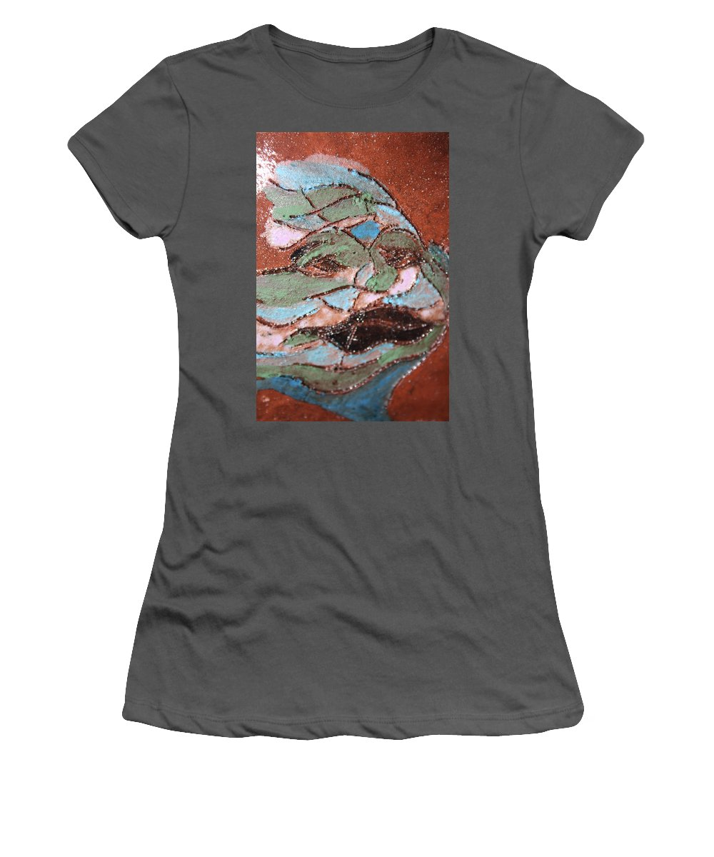 Gloria Ssali Women's T-Shirt (Athletic Fit) featuring the painting Post Carnival Blues Tile by Gloria Ssali