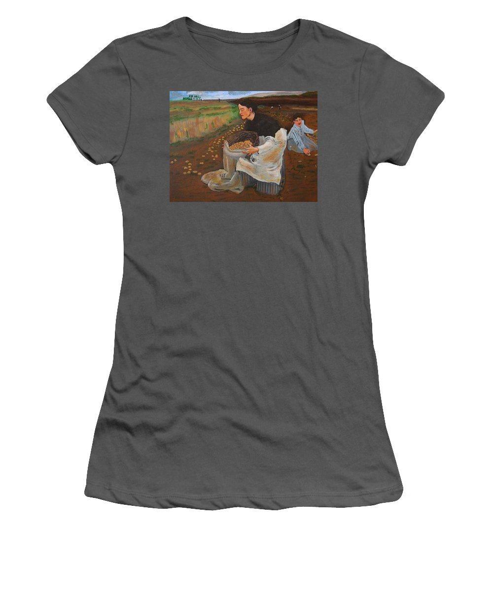 Jules Bastien-lepage Women's T-Shirt (Athletic Fit) featuring the painting Potatoe Pickers by Richard Le Page