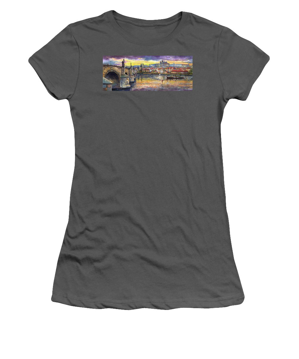 Oil On Canvas Women's T-Shirt (Athletic Fit) featuring the painting Prague Charles Bridge And Prague Castle With The Vltava River 1 by Yuriy Shevchuk