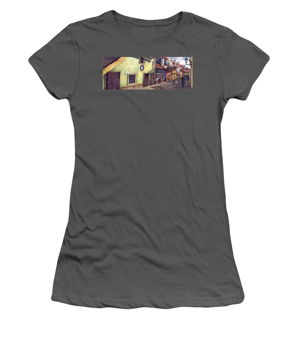 Watercolour Women's T-Shirt (Athletic Fit) featuring the painting Prague Golden Line Street by Yuriy Shevchuk