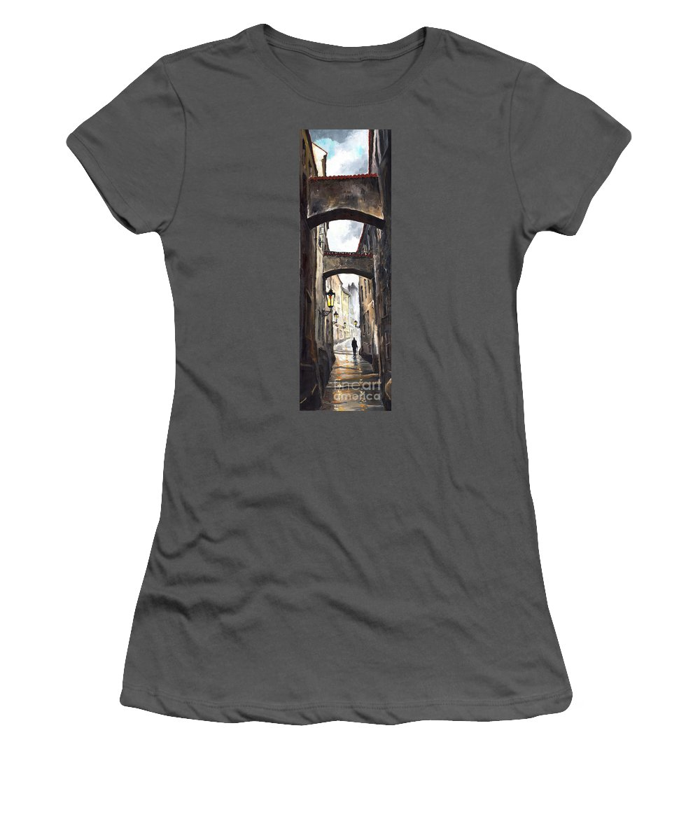 Oil On Canvas Paintings Women's T-Shirt (Athletic Fit) featuring the painting Prague Old Street 02 by Yuriy Shevchuk