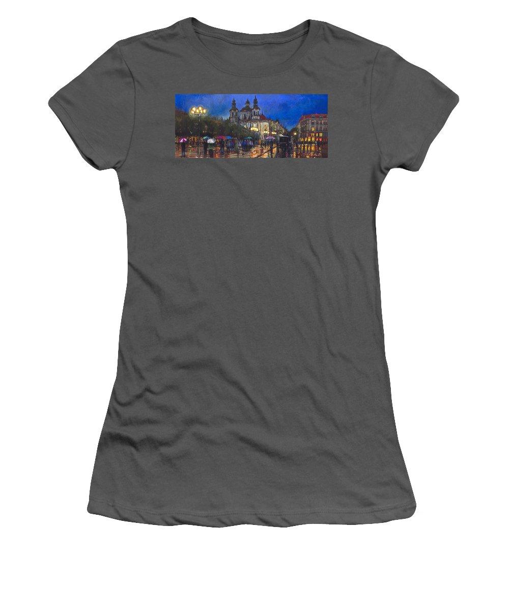Prague Women's T-Shirt (Athletic Fit) featuring the pastel Prague Old Town Square St Nikolas Ch by Yuriy Shevchuk