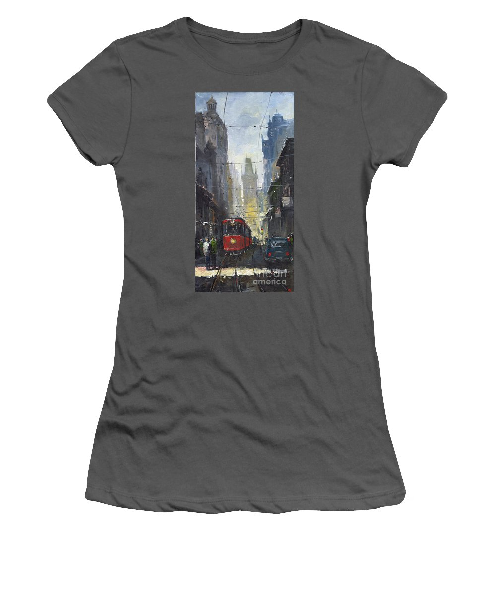 Oil On Canvas Paintings Women's T-Shirt (Athletic Fit) featuring the painting Prague Old Tram 05 by Yuriy Shevchuk