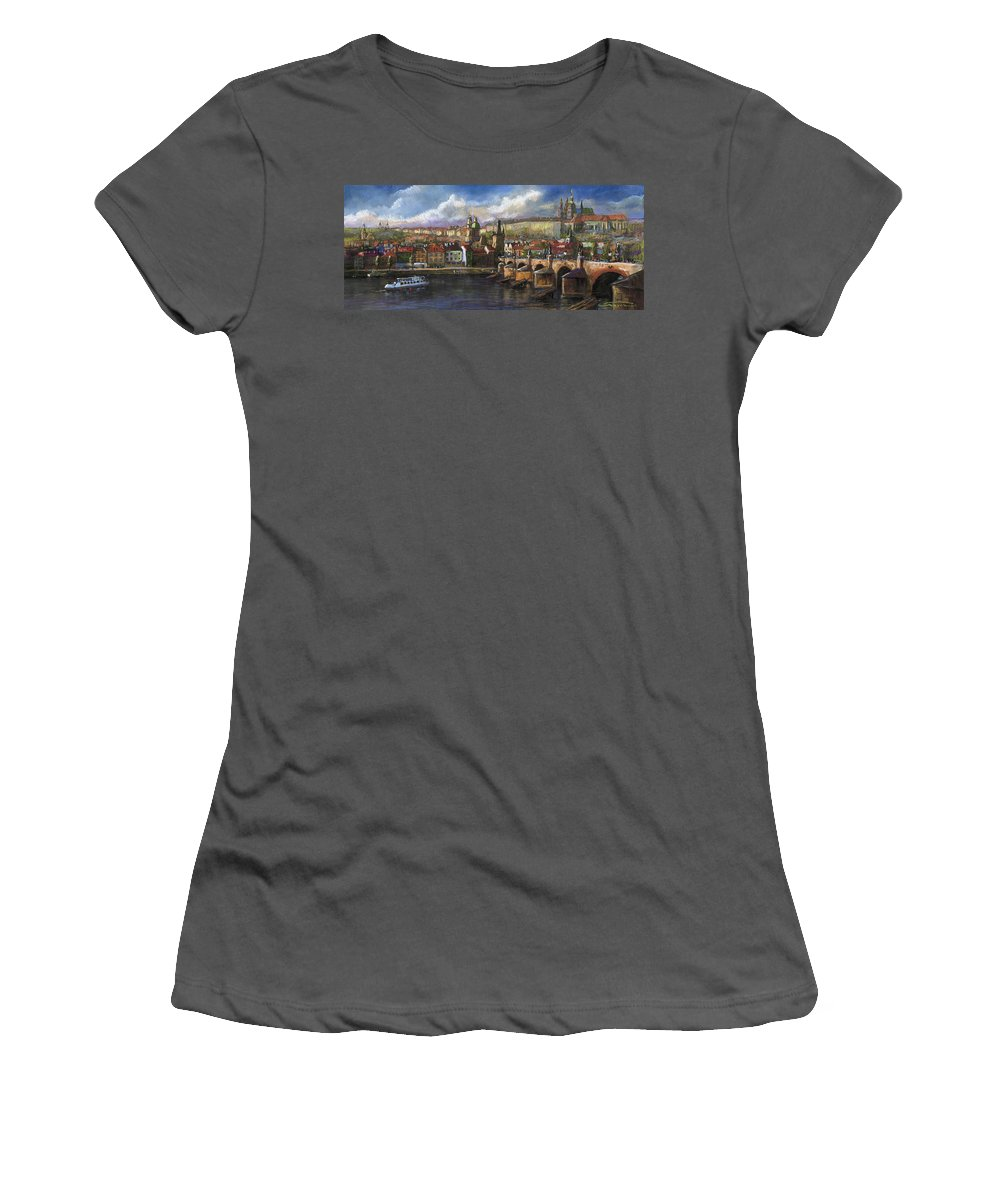 Pastel Women's T-Shirt (Athletic Fit) featuring the painting Prague Panorama Charles Bridge Prague Castle by Yuriy Shevchuk