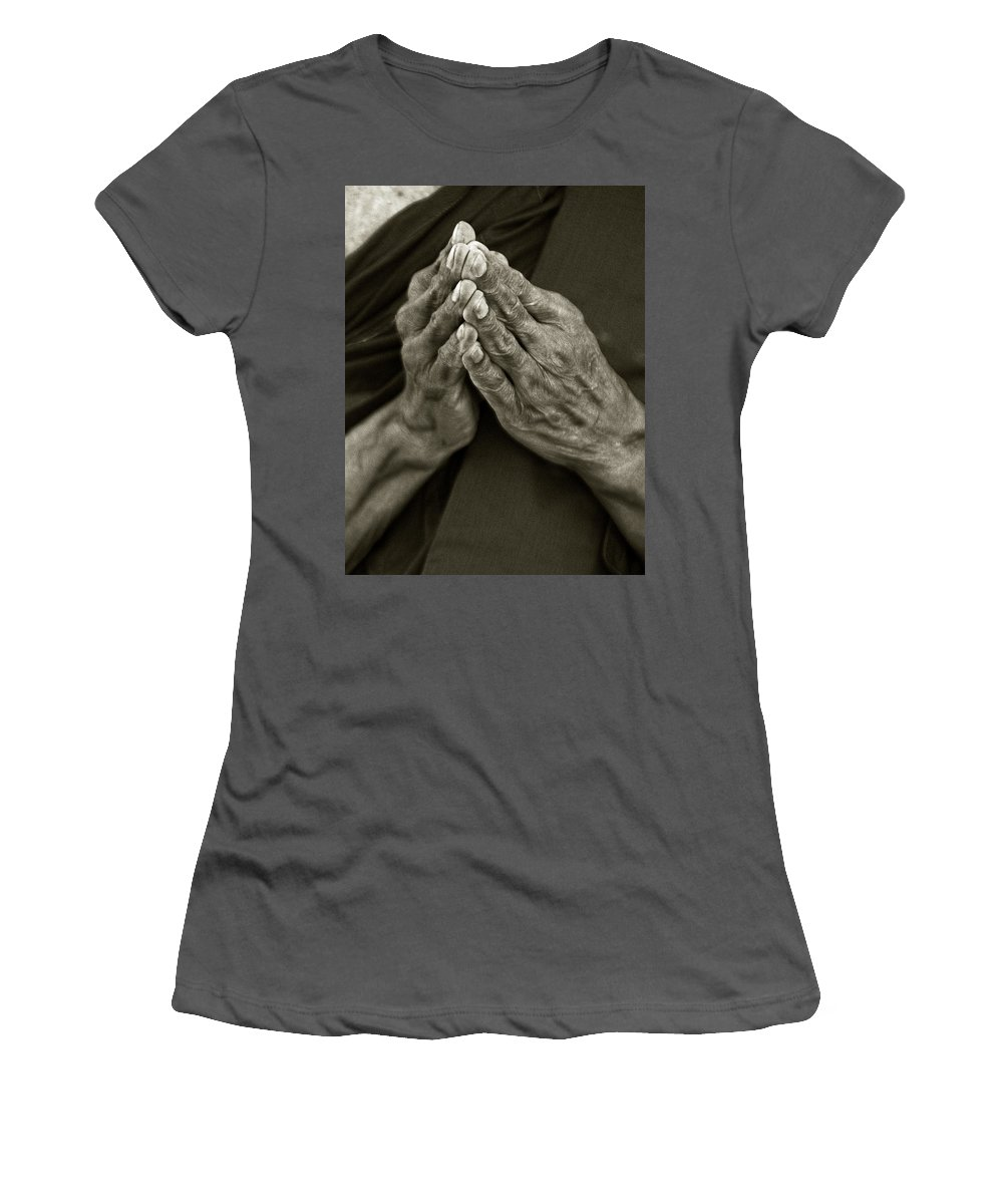 Hands Women's T-Shirt (Athletic Fit) featuring the photograph Prayer by Bruce Bain