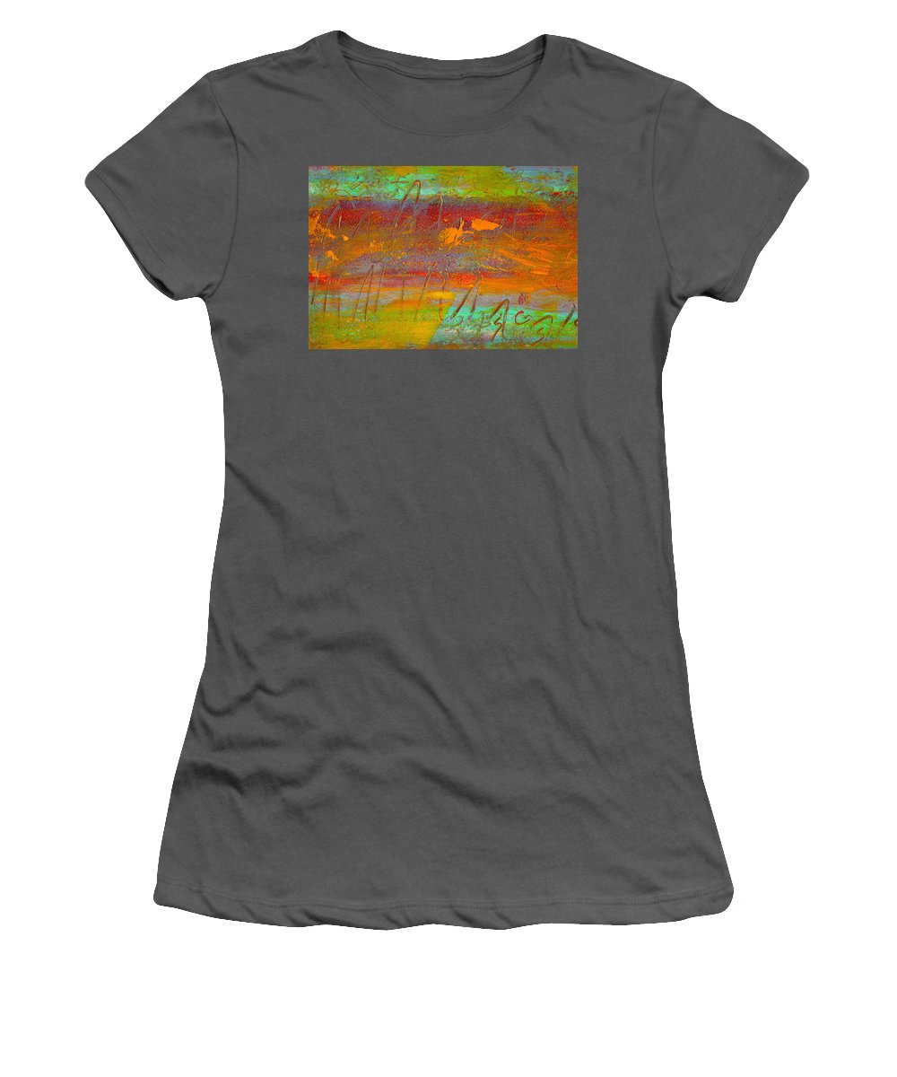 Abstract Women's T-Shirt (Athletic Fit) featuring the painting Prelude To A Sigh by Wayne Potrafka