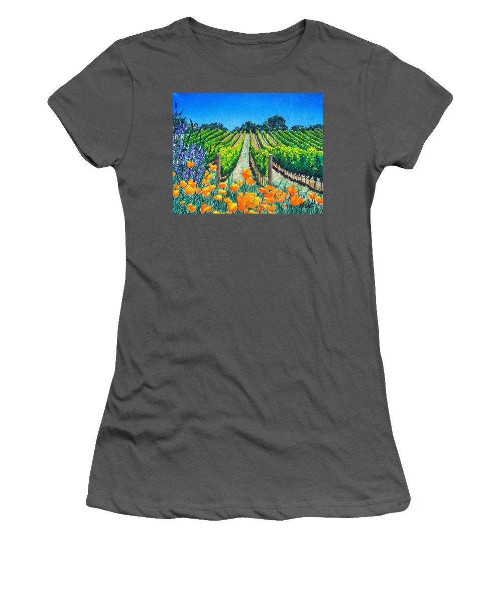 Vineyard Women's T-Shirt (Athletic Fit) featuring the painting Presidio Vineyard by Angie Hamlin