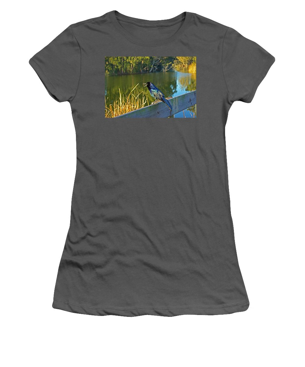Bird Women's T-Shirt (Athletic Fit) featuring the photograph Pretty Bird At A Sunrise by Zalman Latzkovich