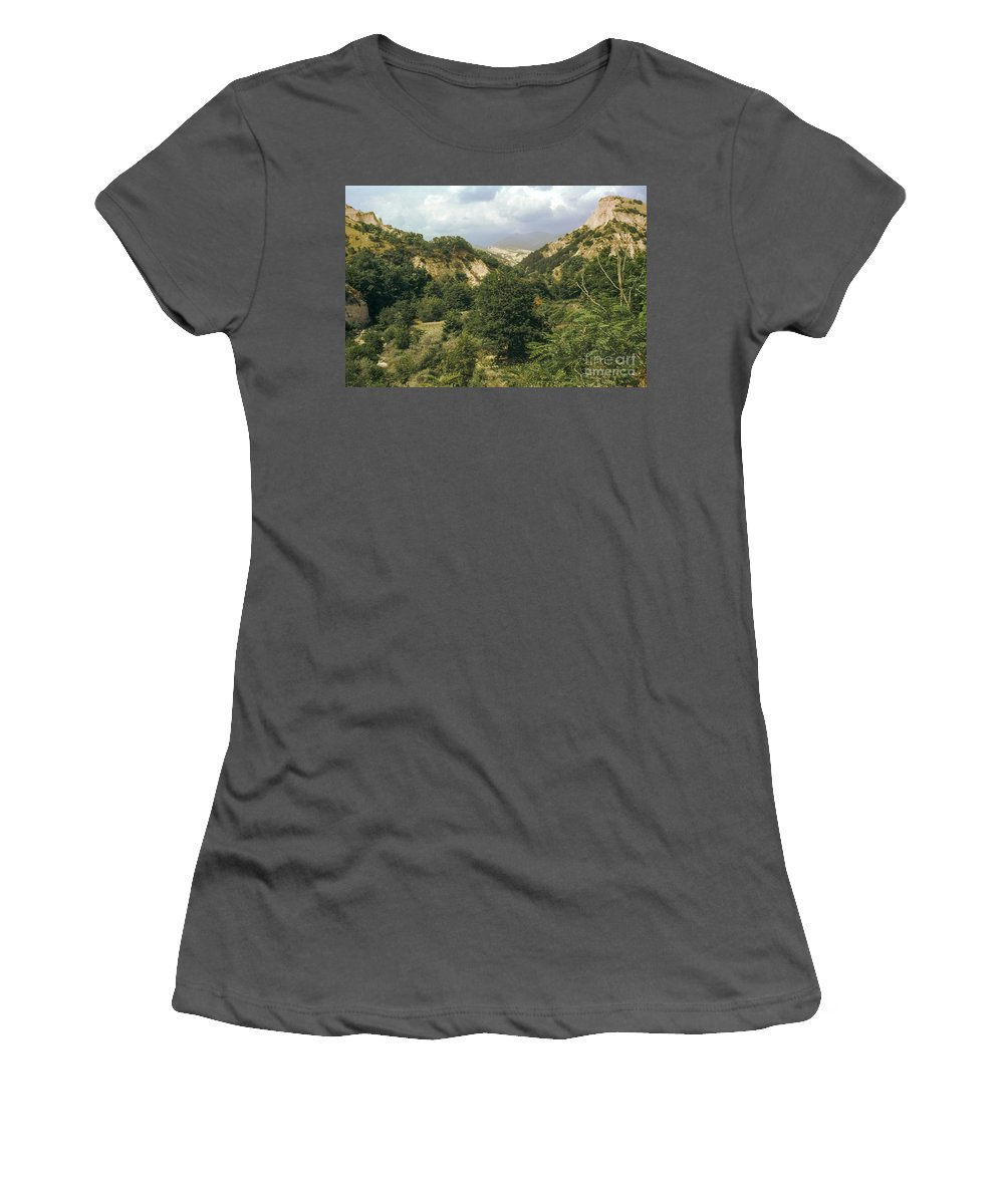 Prin Mountains Melnik Bulgaria Mountain Tree Trees Landscape Landscapes Peak Peaks Nature Women's T-Shirt (Athletic Fit) featuring the photograph Prin Mountain View by Bob Phillips