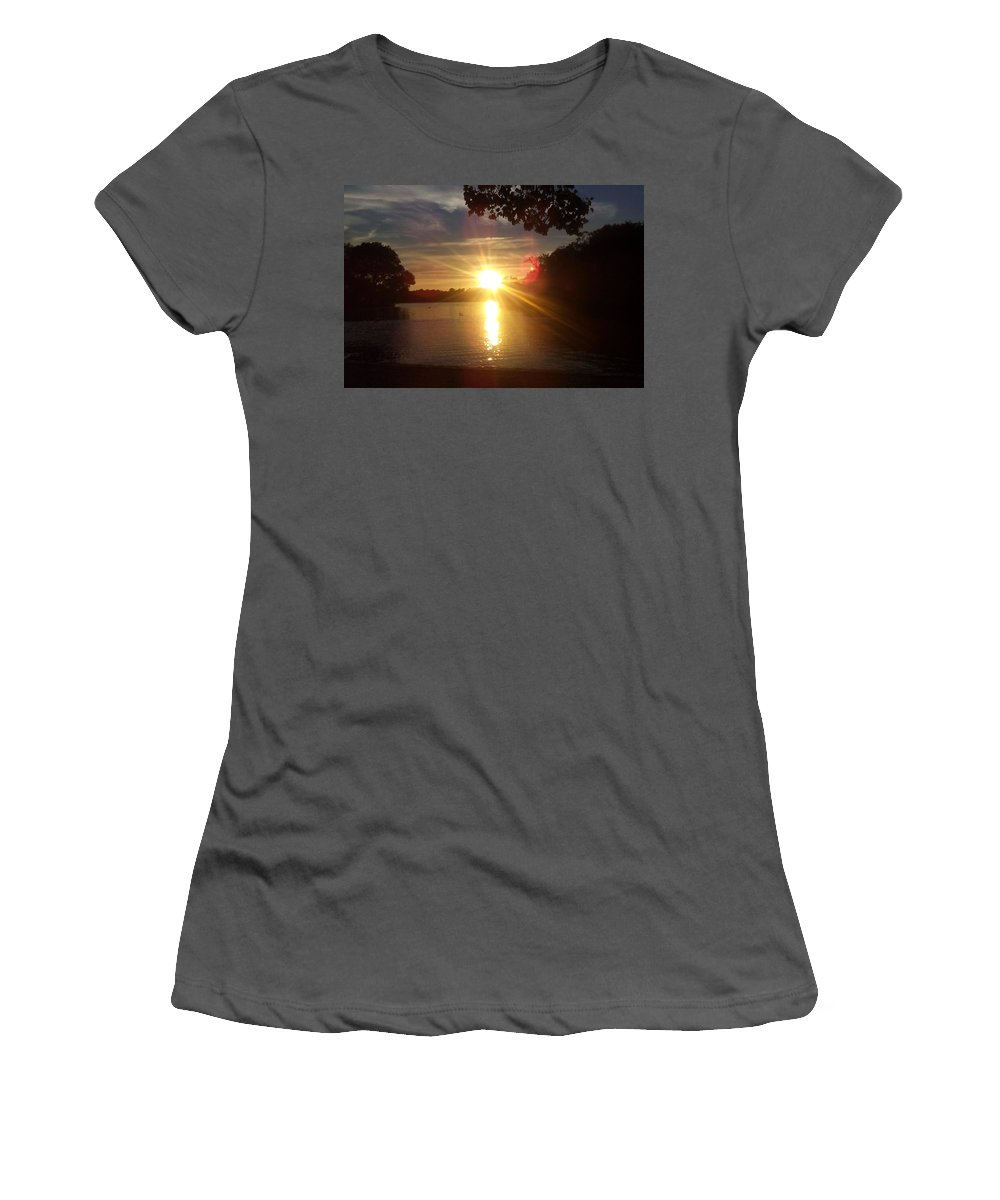 Women's T-Shirt (Athletic Fit) featuring the photograph Prospect Park Sunset by Rory Dunn