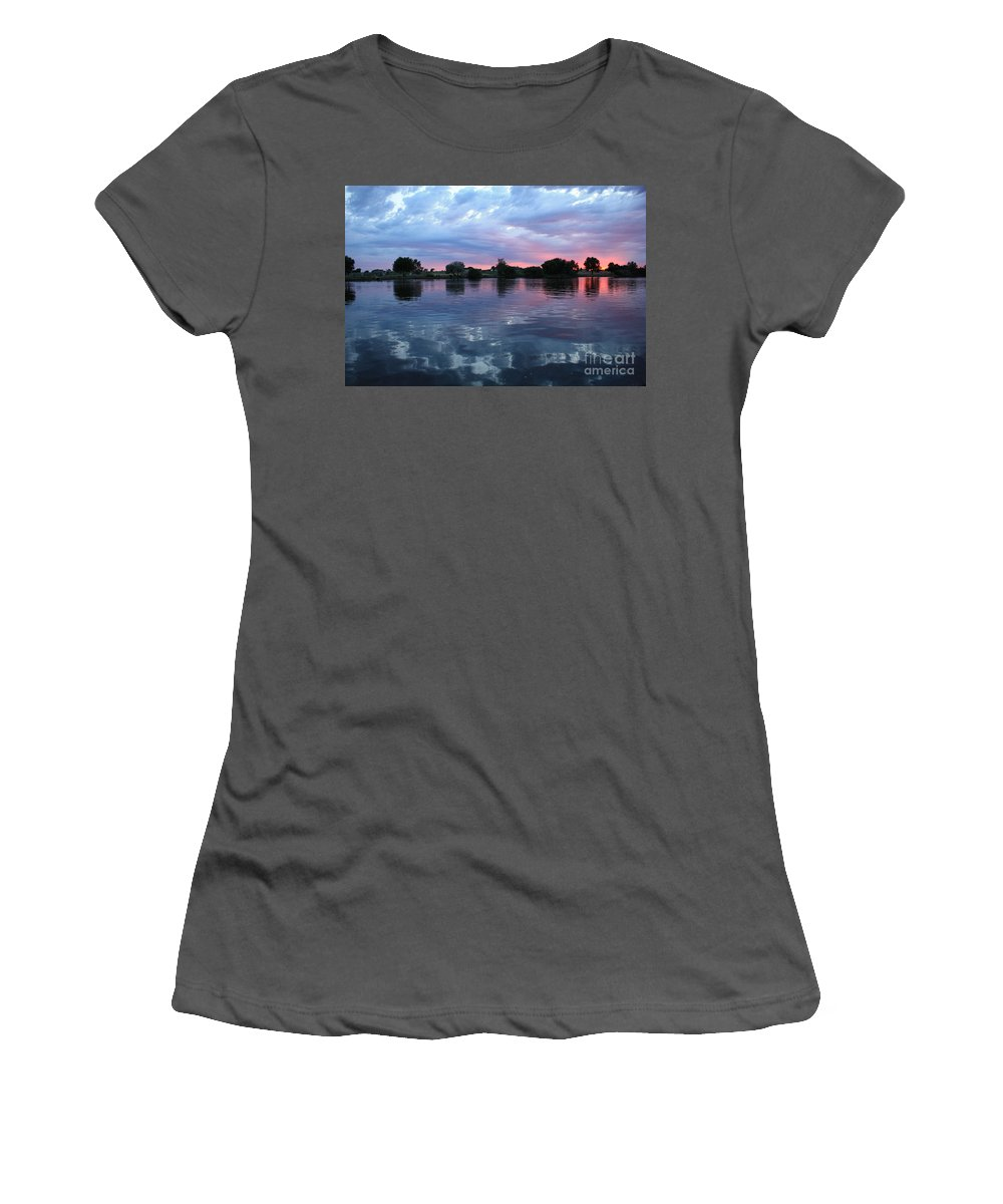 Sunset Women's T-Shirt (Athletic Fit) featuring the photograph Prosser Pink Sunset 5 by Carol Groenen